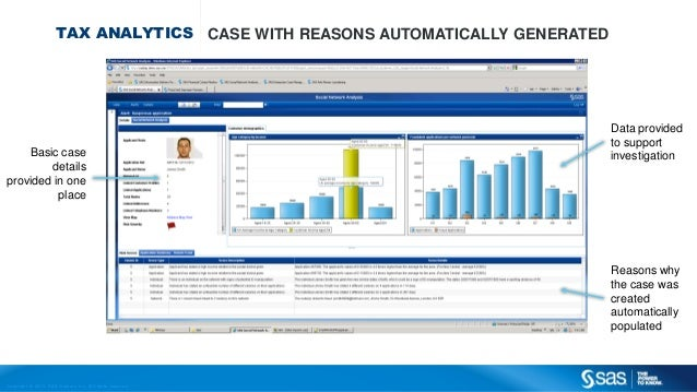 Copyr ight © 2013, SAS Institute Inc. All rights reser ved. TAX ANALYTICS CASE WITH REASONS AUTOMATICALLY GENERATED Data p...