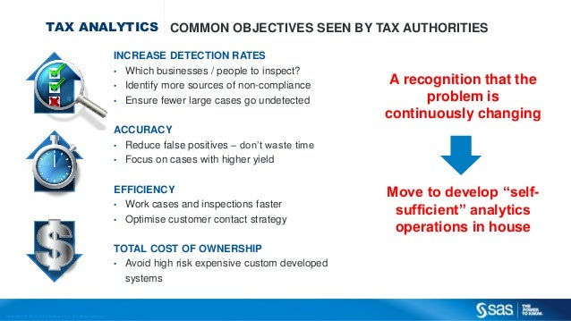 Copyr ight © 2013, SAS Institute Inc. All rights reser ved. TAX ANALYTICS COMMON OBJECTIVES SEEN BY TAX AUTHORITIES INCREA...