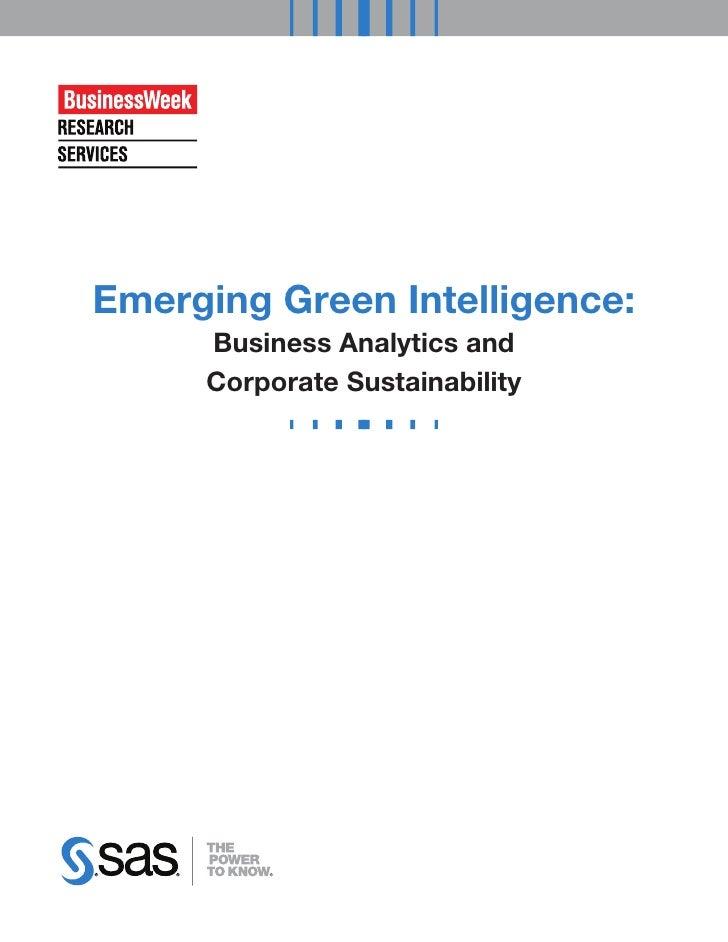 Emerging Green Intelligence:     Business Analytics and     Corporate Sustainability