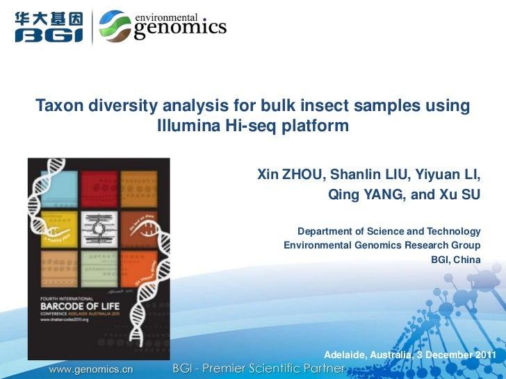 Taxon diversity analysis for bulk insect samples using               Illumina Hi-seq platform                           Xi...
