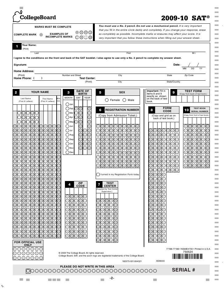 college board sat test 2
