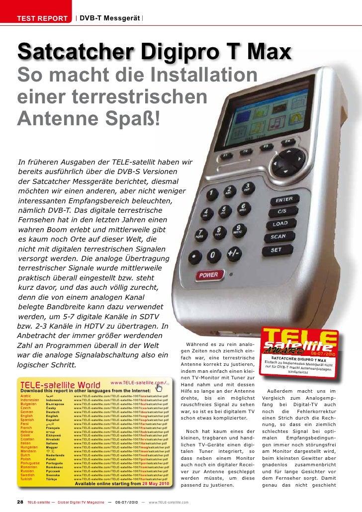 TEST REPORT                   DVB-T Messgerät     Satcatcher Digipro T Max So macht die Installation einer terrestrischen ...