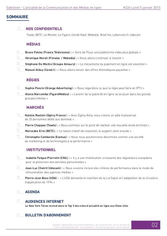 Bilan 2014 de personnalités des médias et de la communication en ligne dans Satellinet Slide 2