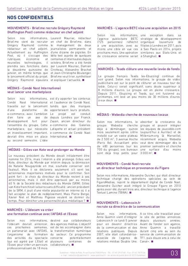 Bilan 2014 de personnalités des médias et de la communication en ligne dans Satellinet Slide 3