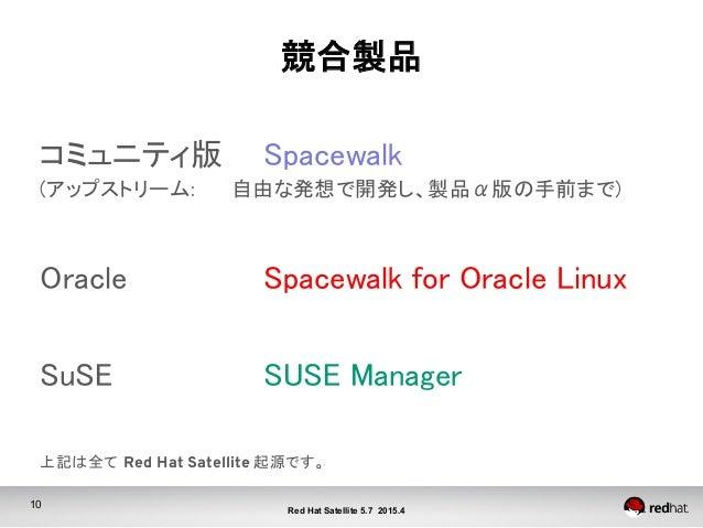 10 Red Hat Satellite 5.7 2015.4 競合製品 コミュニティ版   Spacewalk (アップストリーム:  自由な発想で開発し、製品α版の手前まで)  Oracle         Spac...