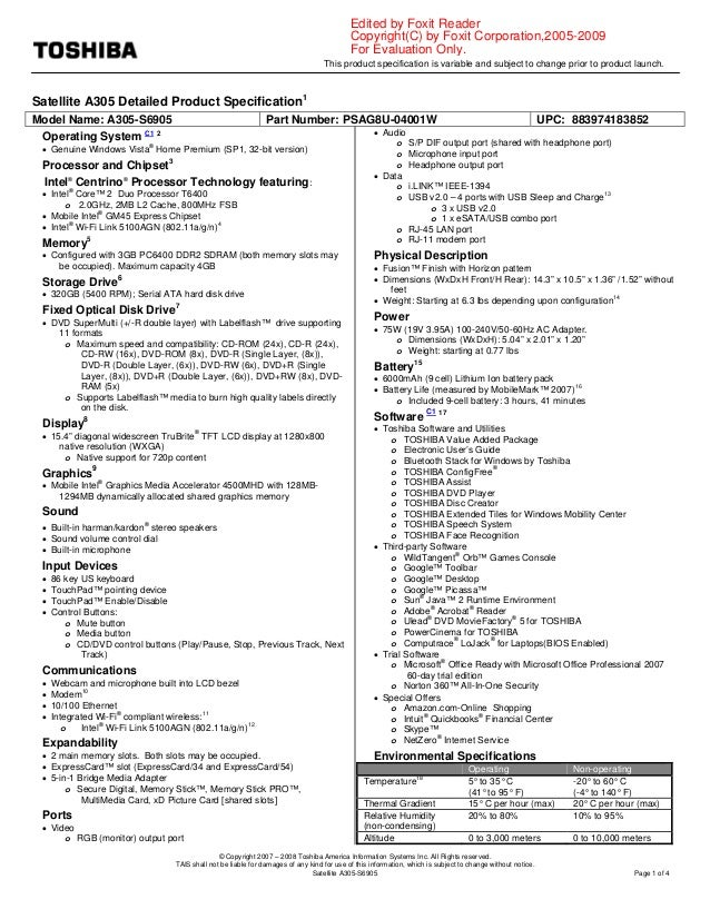 This product specification is variable and subject to change prior to product launch. © Copyright 2007 – 2008 Toshiba Amer...