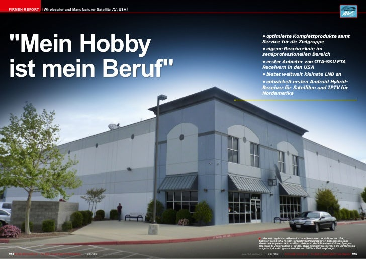 "Firmen Report                       Wholesaler and Manufacturer Satellite AV, USA""Mein Hobby                              ..."