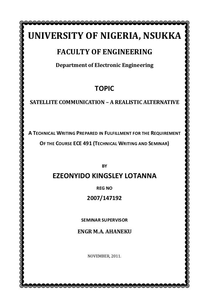 UNIVERSITY OF NIGERIA, NSUKKA           FACULTY OF ENGINEERING           Department of Electronic Engineering             ...