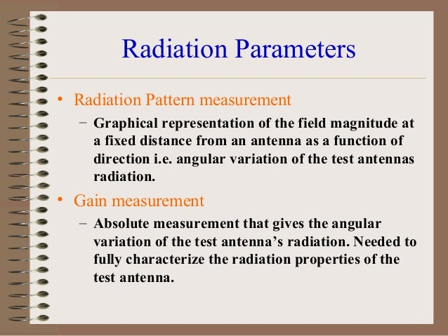 Cont… •  • •  •  Radiation patterns generally defined as the far field power or field strength produced by the antenna as ...