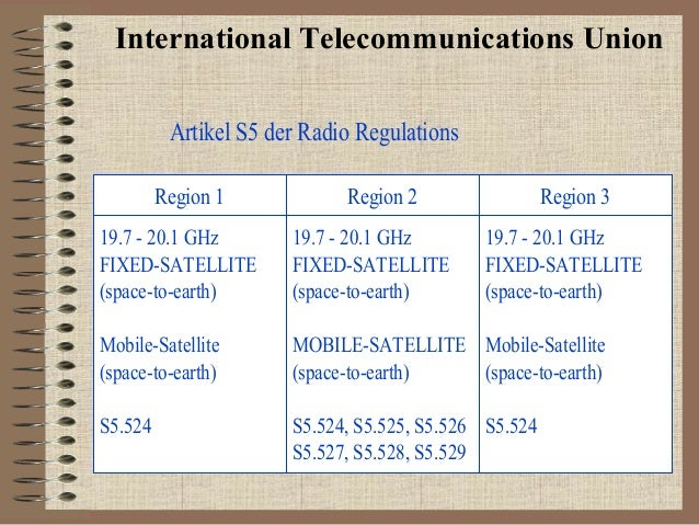 International Telecommunications Union Artikel S5 der Radio Regulations Region 1  Region 2  Region 3  19.7 - 20.1 GHz FIXE...