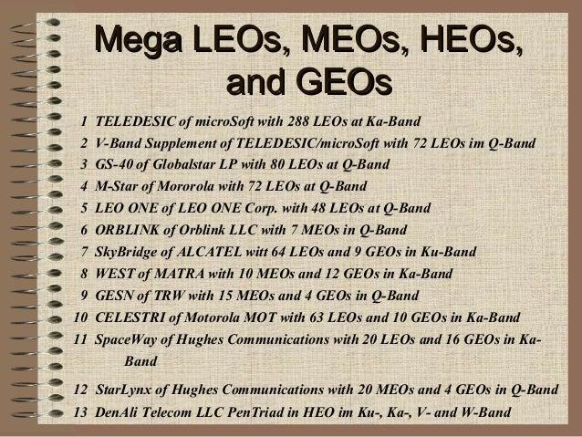 Mega LEOs, MEOs, HEOs, and GEOs 1 2 3 4 5 6 7 8 9 10 11  TELEDESIC of microSoft with 288 LEOs at Ka-Band V-Band Supplement...