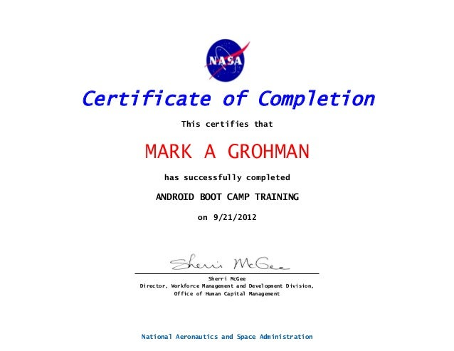 Android Programming Boot Camp Course Certificate - 9-17-12 thru 9-21-…