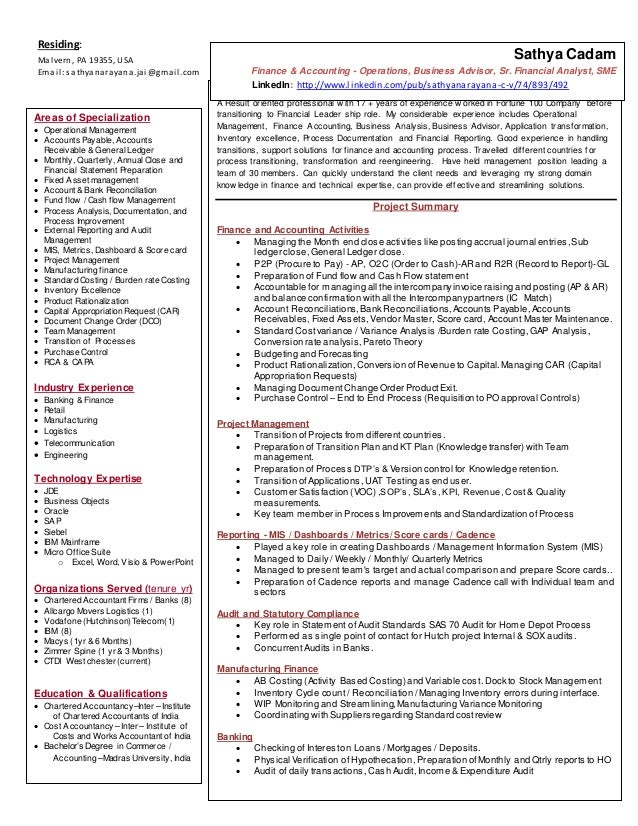 Sathya resume - summary