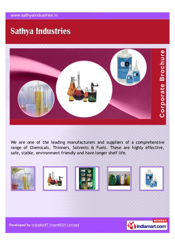 We are one of the leading manufacturers and suppliers of a comprehensiverange of Chemicals, Thinners, Solvents & Fuels. Th...