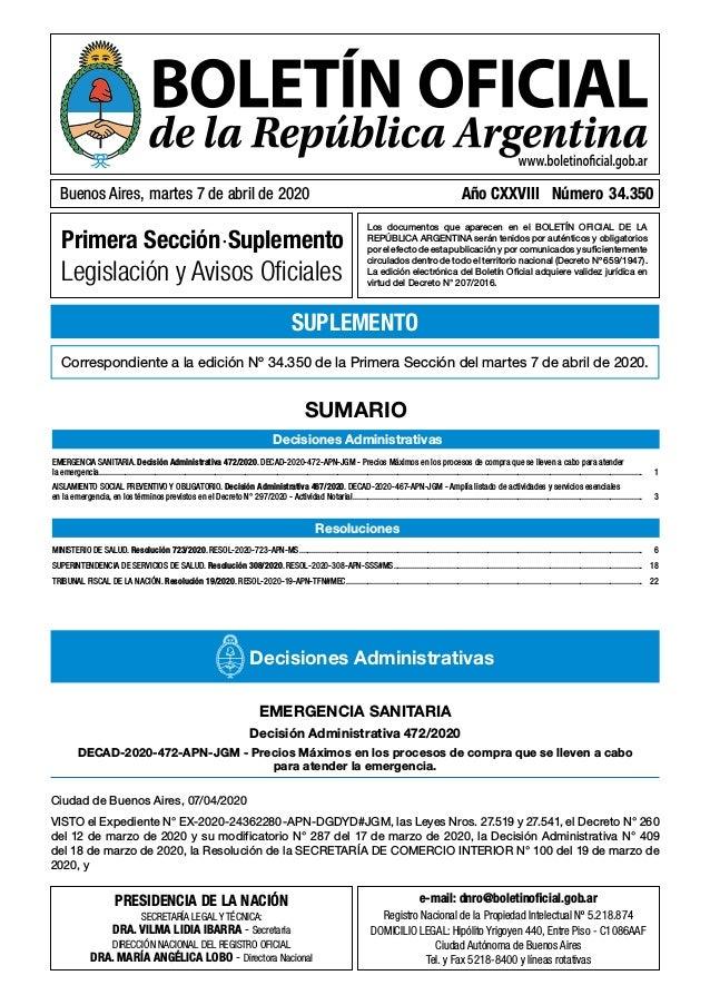 Primera Sección.Suplemento Legislación y Avisos Oficiales Los documentos que aparecen en el BOLETÍN OFICIAL DE LA REPÚBLICA...
