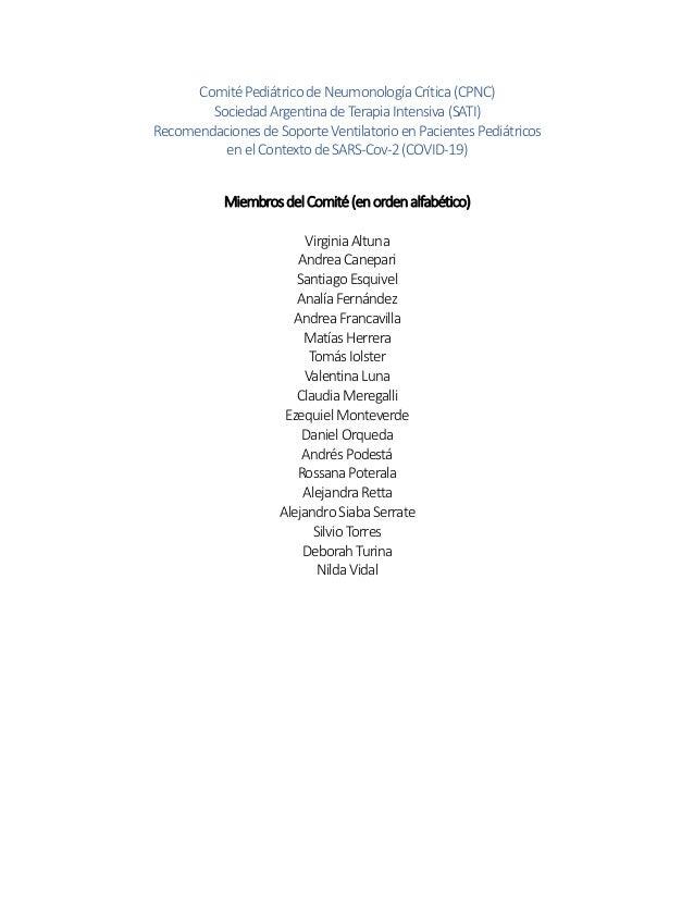 Comité Pediátrico de NeumonologíaCrítica (CPNC) Sociedad Argentina deTerapia Intensiva (SATI) Recomendaciones de Soporte V...