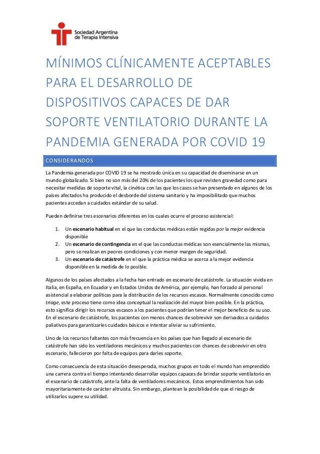 MÍNIMOS CLÍNICAMENTE ACEPTABLES PARA EL DESARROLLO DE DISPOSITIVOS CAPACES DE DAR SOPORTE VENTILATORIO DURANTE LA PANDEMIA...