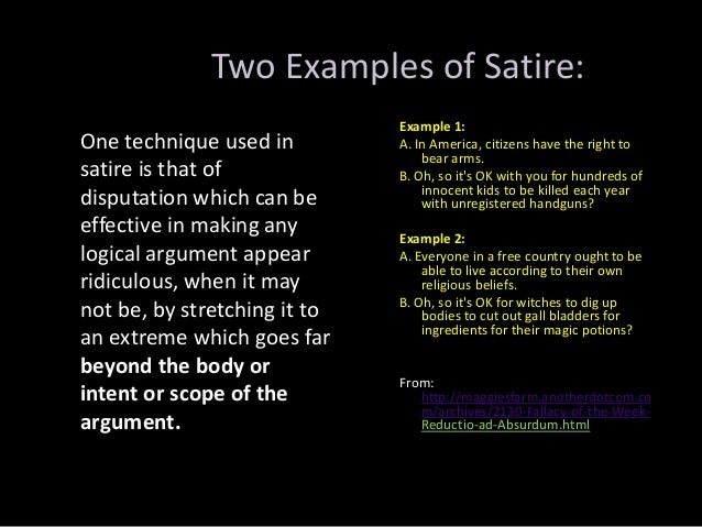 Examples of satire essays