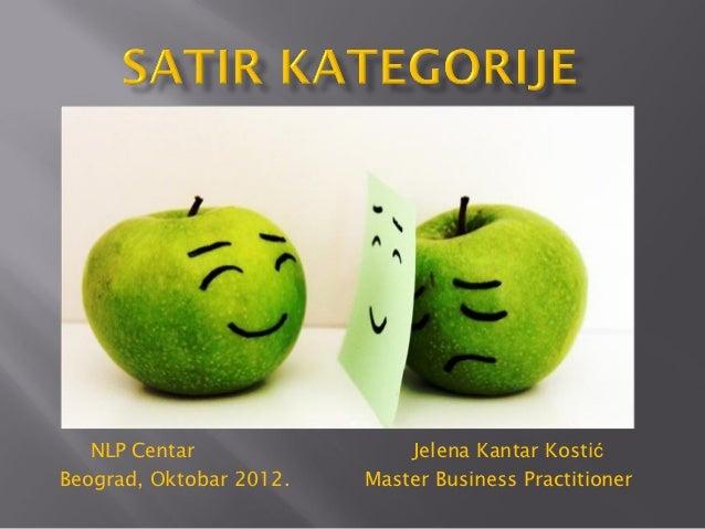 NLP Centar                Jelena Kantar KostićBeograd, Oktobar 2012.   Master Business Practitioner