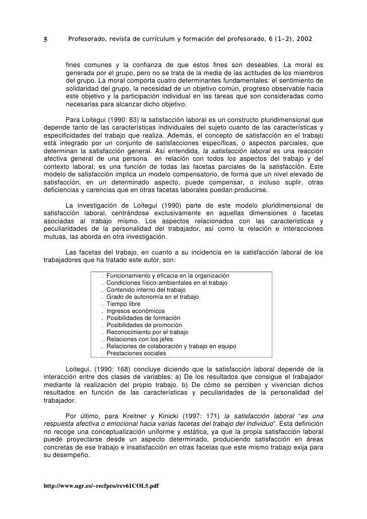 5       Profesorado, revista de currículum y formación del profesorado, 6 (1–2), 2002           fines comunes y la confian...