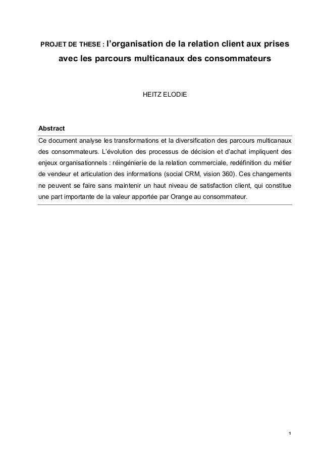 PROJET DE THESE : l'organisation     de la relation client aux prises           avec les parcours multicanaux des consomma...