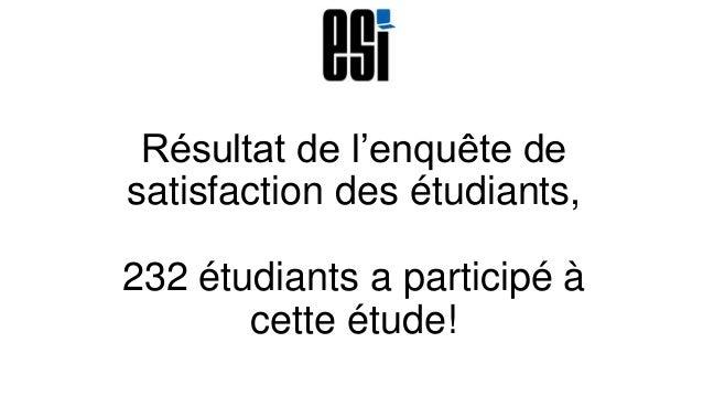 Résultat de l'enquête de satisfaction des étudiants, 232 étudiants a participé à cette étude!