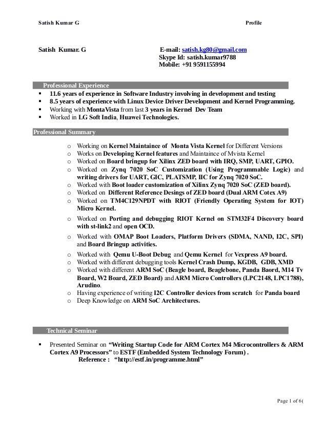 Linux Kernel , BSP, Boot Loader, ARM Engineer - Satish profile