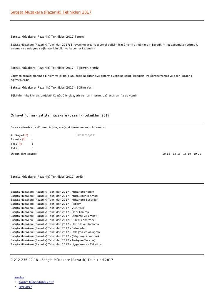 Satışta Müzakere (Pazarlık) Teknikleri 2017Satışta Müzakere (Pazarlık) Teknikleri 2017 TanımıSatışta Müzakere (Pazarlık) T...