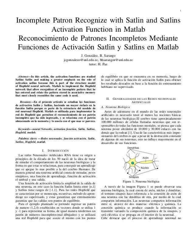 1  Incomplete Patron Recognize with Satlin and Satlins  Activation Function in Matlab  Reconocimiento de Patrones Incomple...