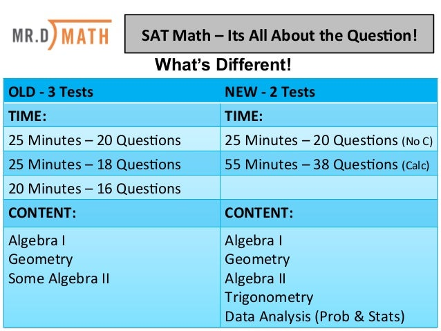 SAT	   Math	   –	   Its	   All	   About	   the	   Ques2on!	    OLD	   -­‐	   3	   Tests	    NEW	   -­‐	   2	   Tests	    T...