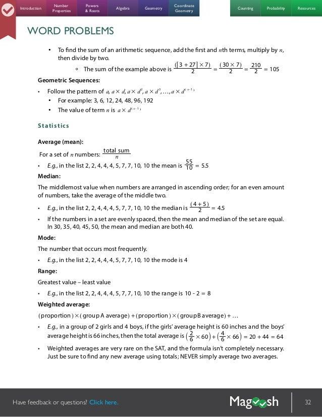 Magoosh Sat Math Formula Ebook