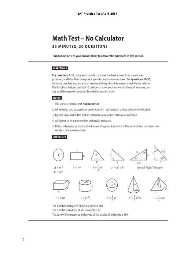 SAt practice test april 2017 qp