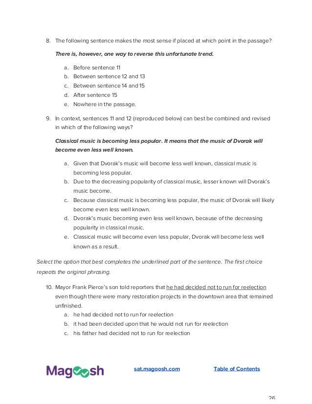 SAT Practice Questions