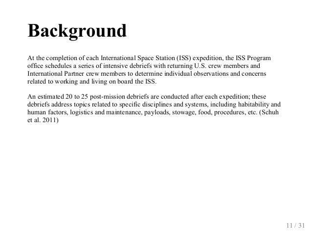 Background AtthecompletionofeachInternationalSpaceStation(ISS)expedition,theISSProgram officeschedulesaseri...