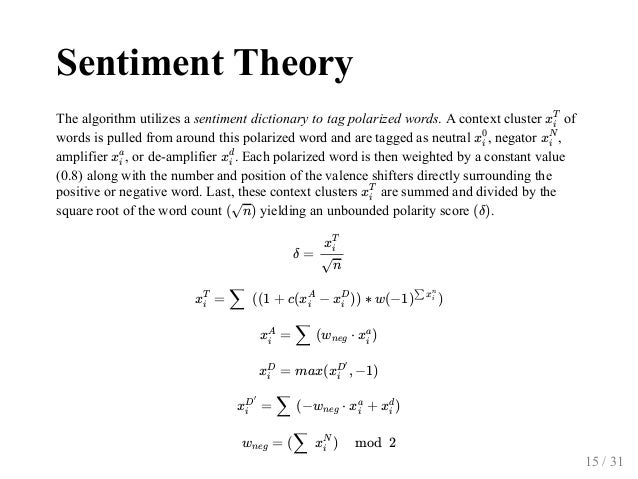 SentimentTheory Thealgorithmutilizesasentimentdictionarytotagpolarizedwords.Acontextcluster of wordsispul...