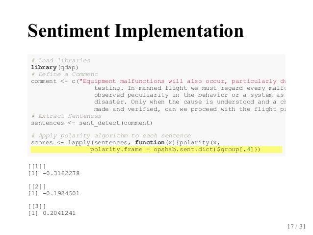 SentimentImplementation [[1]] [1]0.3162278 [[2]] [1]0.1924501 [[3]] [1]0.2041241 #Loadlibraries library(qdap) #De...