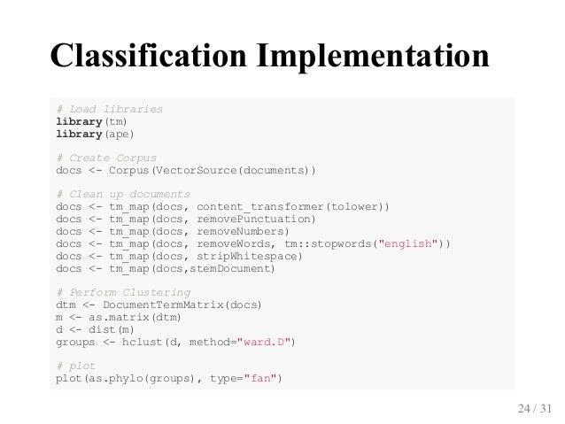 ClassificationImplementation #Loadlibraries library(tm) library(ape) #CreateCorpus docs<Corpus(VectorSource(docume...