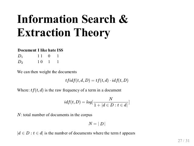 InformationSearch& ExtractionTheory Document I like hate ISS 1 1 0 1 1 0 1 1 Wecanthenweightthedocuments Where: ...