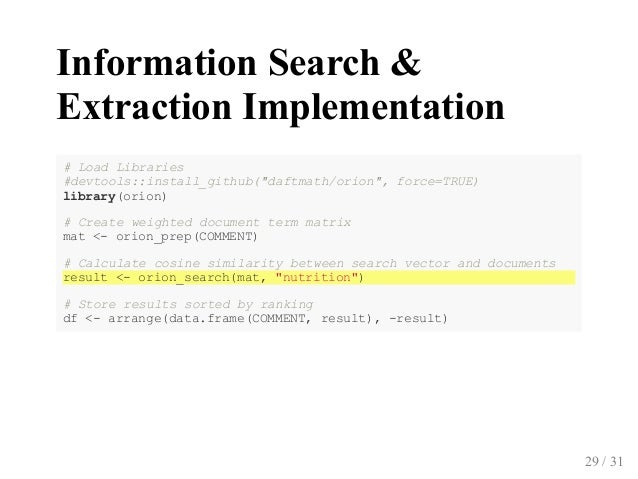 """InformationSearch& ExtractionImplementation #LoadLibraries #devtools::install_github﴾""""daftmath/orion"""",force=TRUE﴿ li..."""