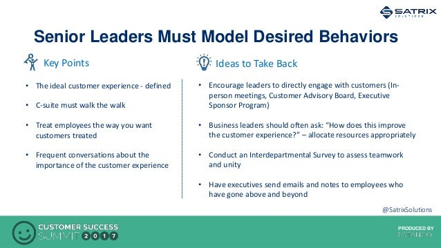 PRODUCED BYPRODUCED BY Senior Leaders Must Model Desired Behaviors Ideas to Take BackKey Points • The ideal customer exper...