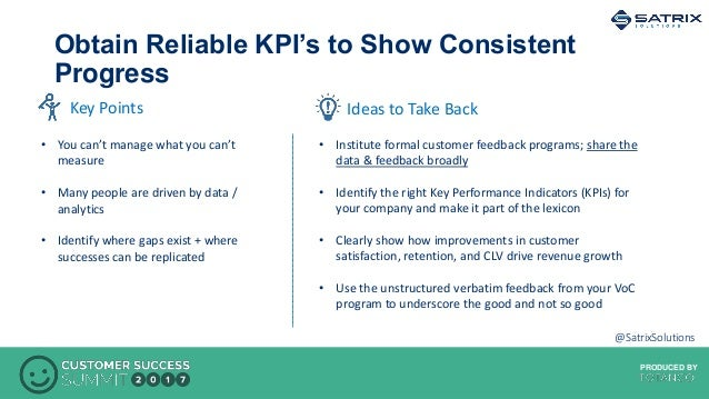 PRODUCED BYPRODUCED BY Obtain Reliable KPI's to Show Consistent Progress Ideas to Take BackKey Points • You can't manage w...