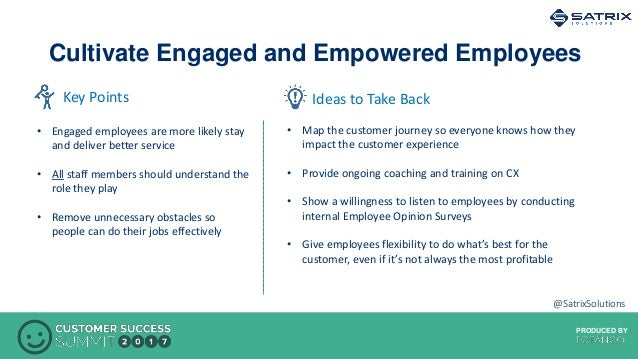 PRODUCED BYPRODUCED BY Cultivate Engaged and Empowered Employees Ideas to Take BackKey Points • Engaged employees are more...