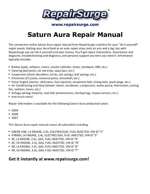 Saturn Aura Repair Manual 2007 2009