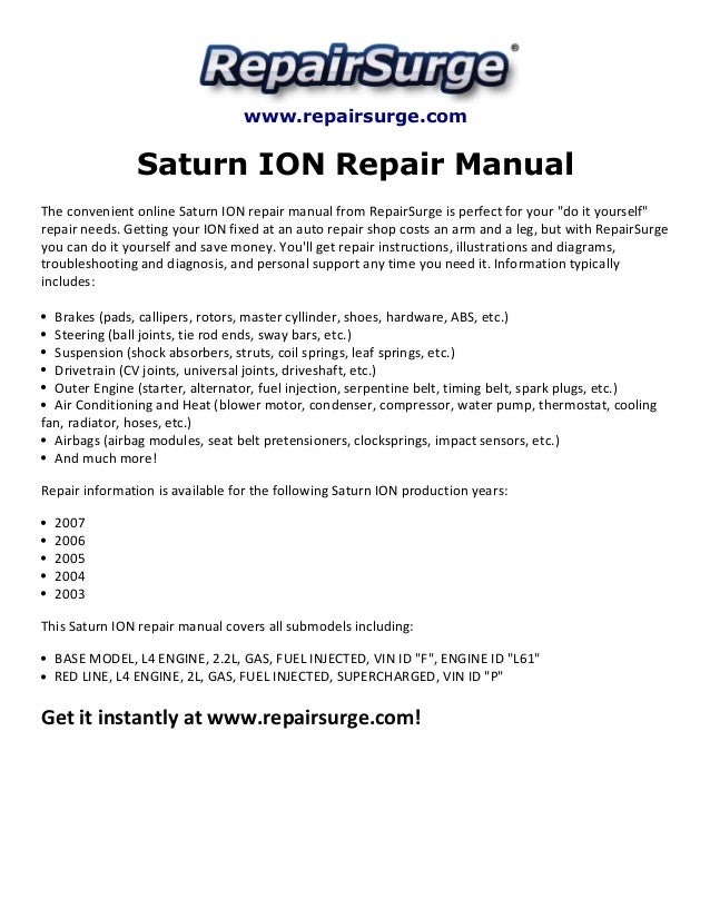 saturn ion repair manual 2003 2007 rh slideshare net saturn ion repair manual repair manual for 2004 saturn ion
