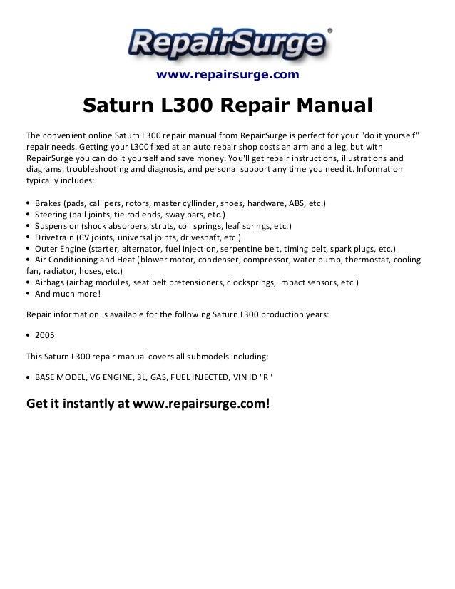 saturn l300 repair manual 2005 rh slideshare net saturn l300 service manual saturn l200 owners manual