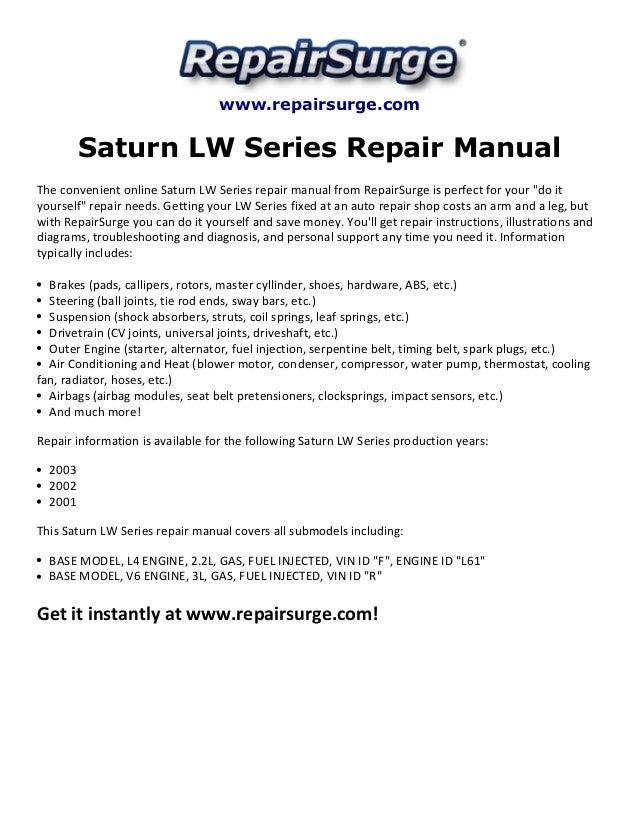 saturn lw series repair manual 2001 2003 rh slideshare net 2001 saturn l300 repair manual pdf 2001 saturn l300 repair manual pdf