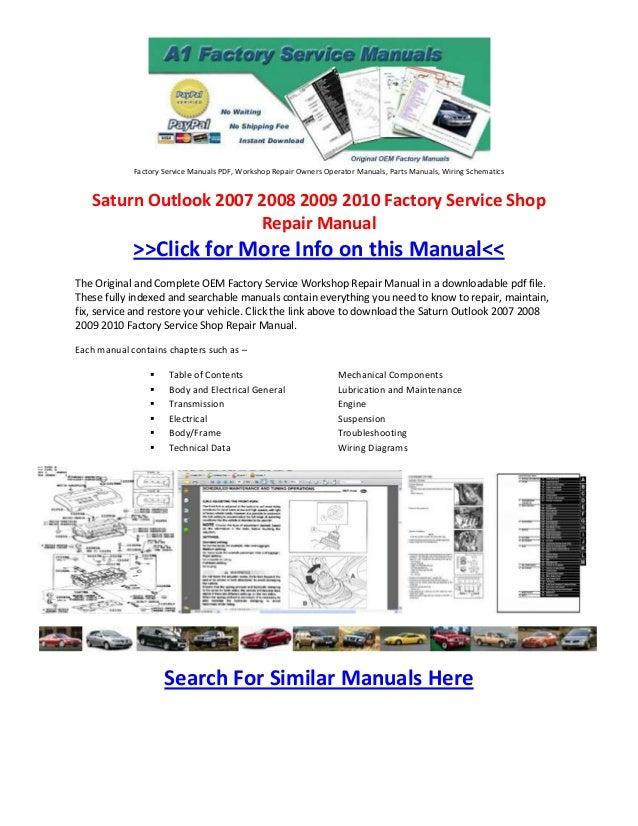 saturn outlook 2007 2008 2009 2010 factory service shop repair manual rh slideshare net 2008 Saturn Outlook XR Interior 2008 saturn outlook owner's manual