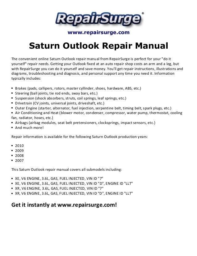 Repairsurge Saturn Outlook Repair Manual The Convenient Online: 2009 Saturn Outlook Engine Diagram At Satuska.co