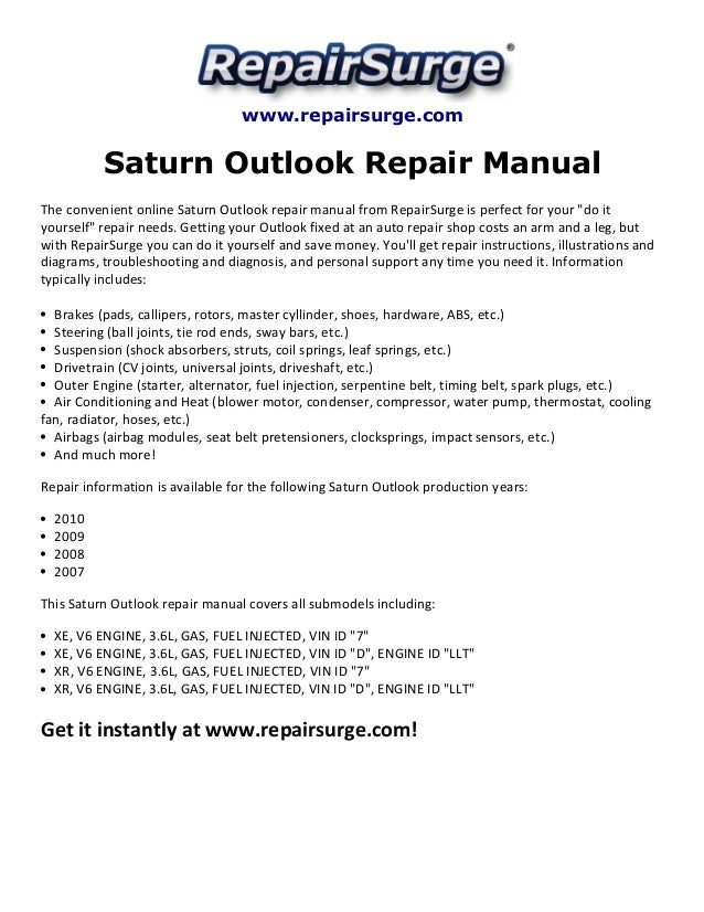 saturn outlook repair manual 2007 2010 rh slideshare net 2008 saturn outlook service manual free 2008 Saturn Outlook Problems
