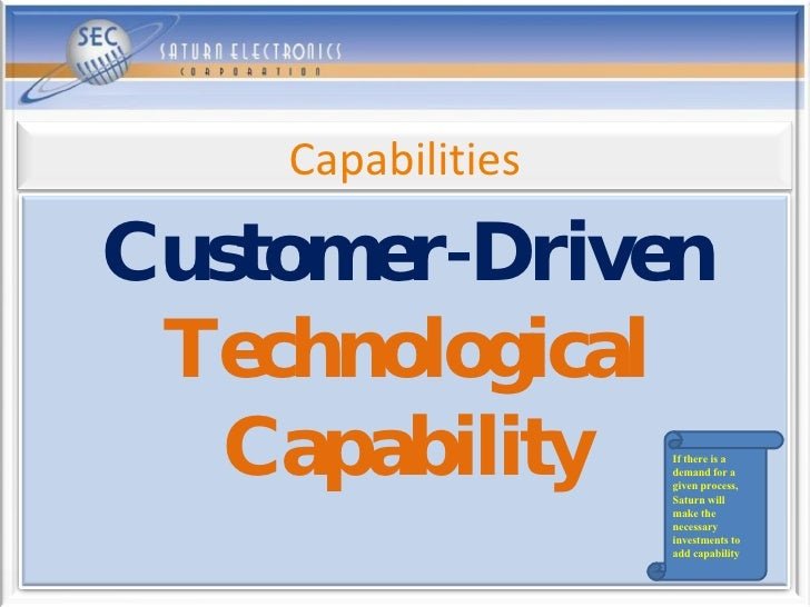 If there is a demand for a given process, Saturn will  make the necessary investments to add capability Customer-Driven   ...